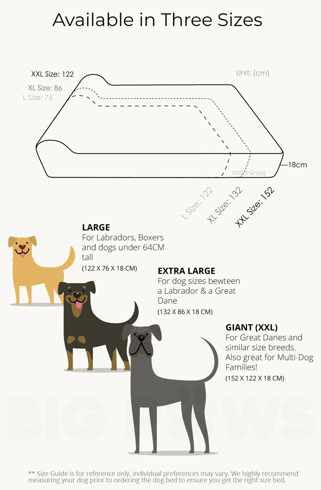 Big Paws Dog Beds Size Chart