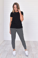 Mia Joggers - Black and White stripes