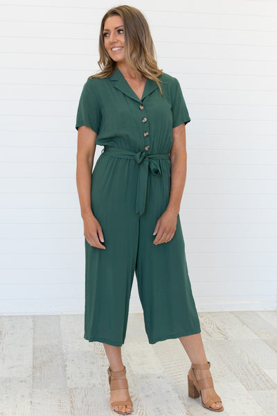 Evy Jumpsuit Moss Green - Was $59.95