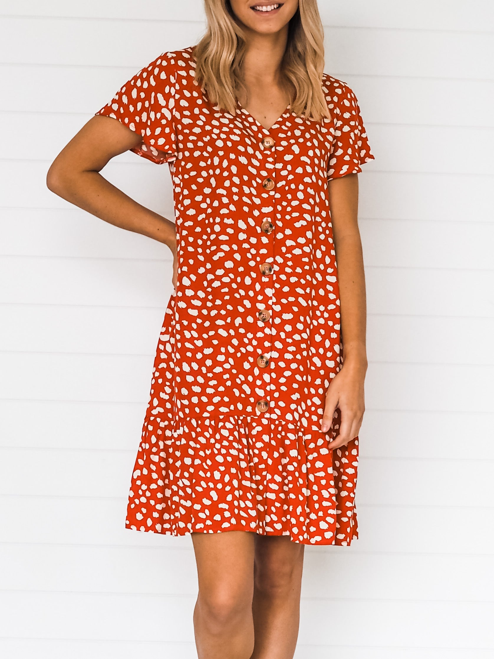 Penny Dress - Rust/White