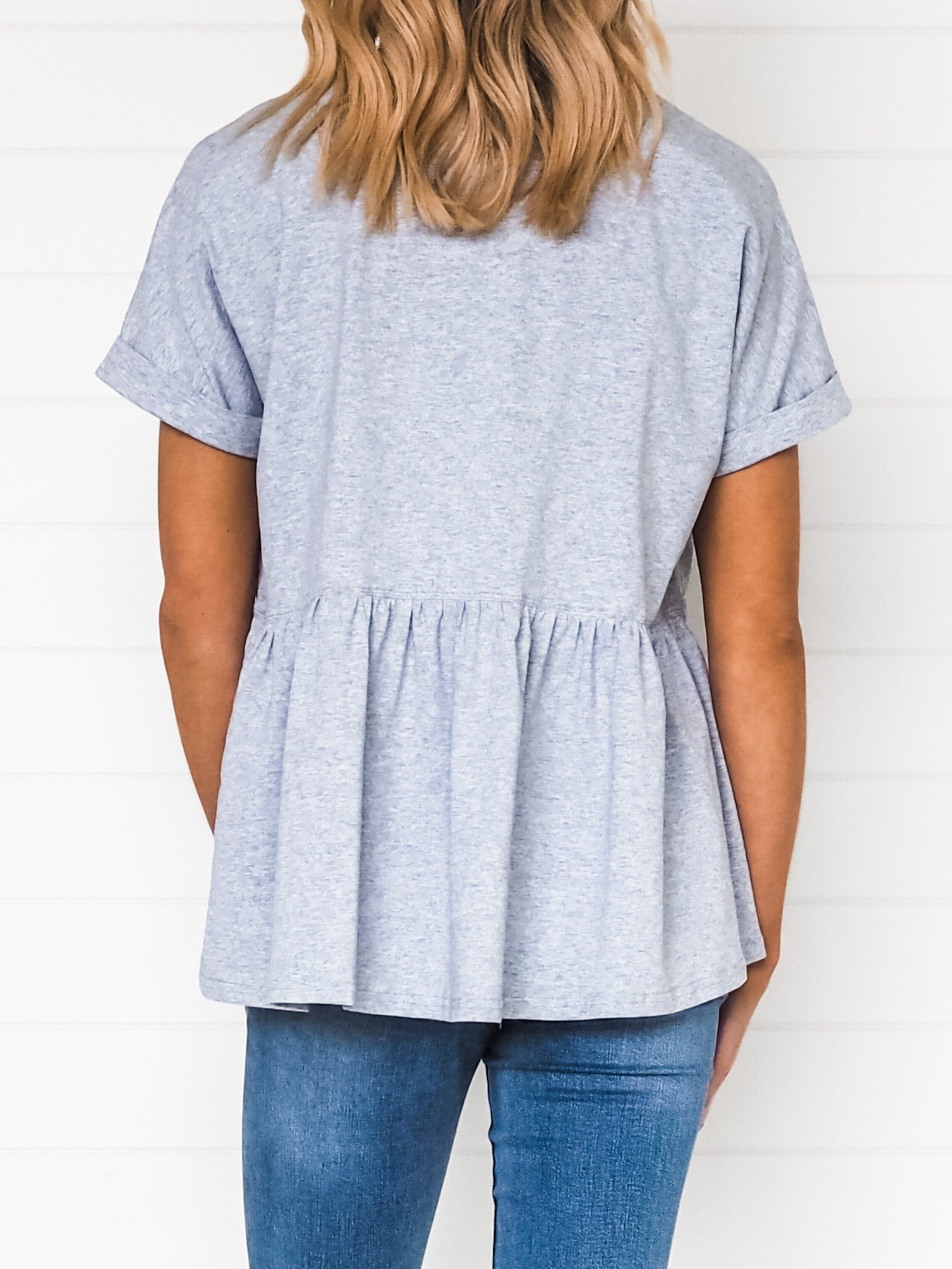 Pepper Frilled Tee - Grey