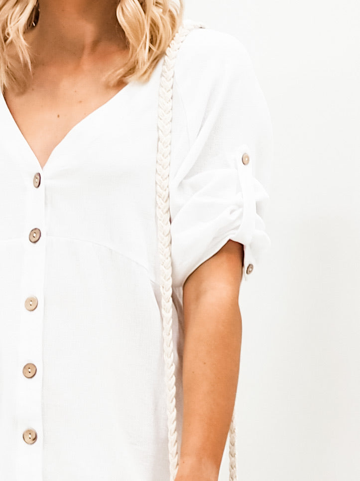 Harmony Shirt Dress  - White