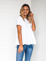 Pepper Frilled Tee - White