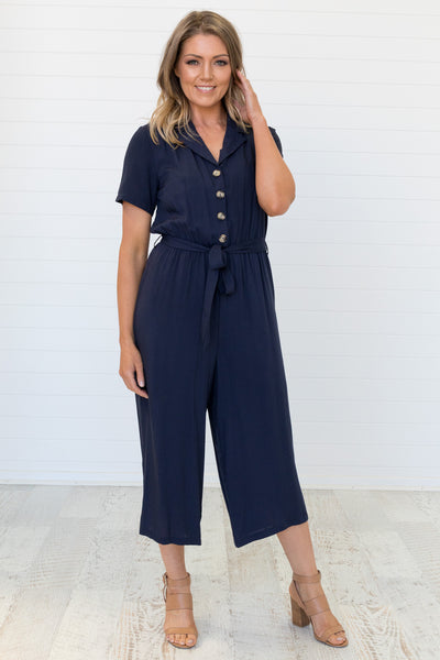 Evy Jumpsuit Navy - Was $59.95