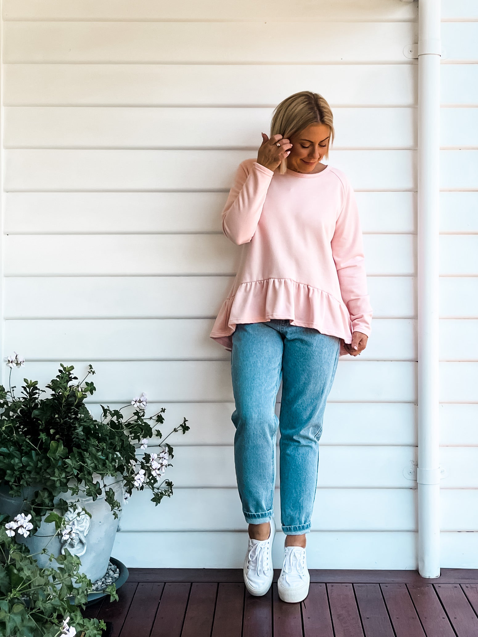 Beth Frill Sweater - Pale Pink