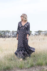 Imogen Maxi Dress - Black Paisley