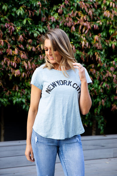 New York City Tee - Blue Sequins