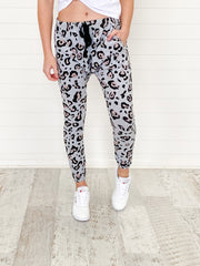 Ryder Joggers - Grey and Pink Leopard