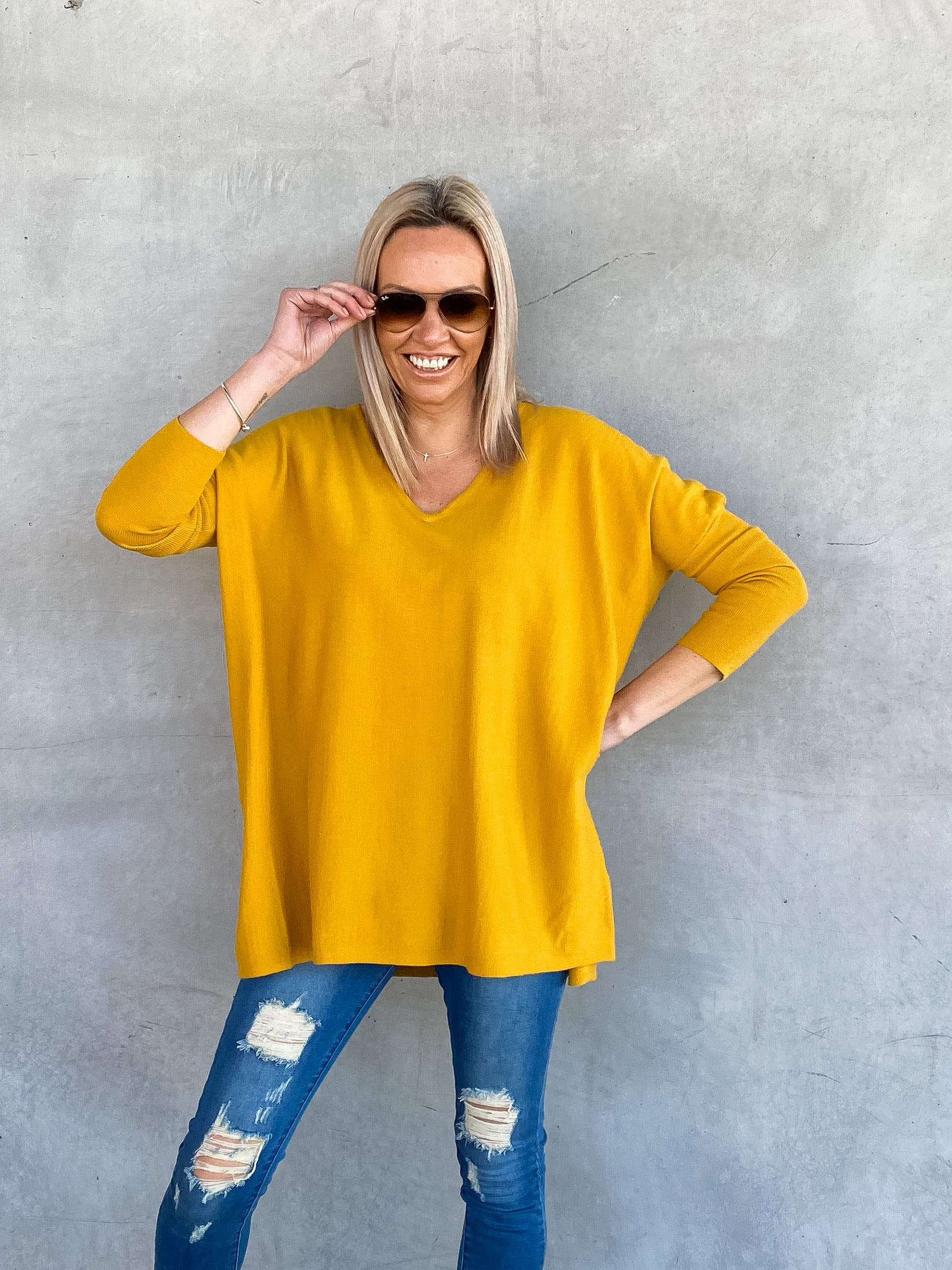 Jacob V-Neck Knit - Mustard