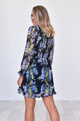 Feather Dress - Navy