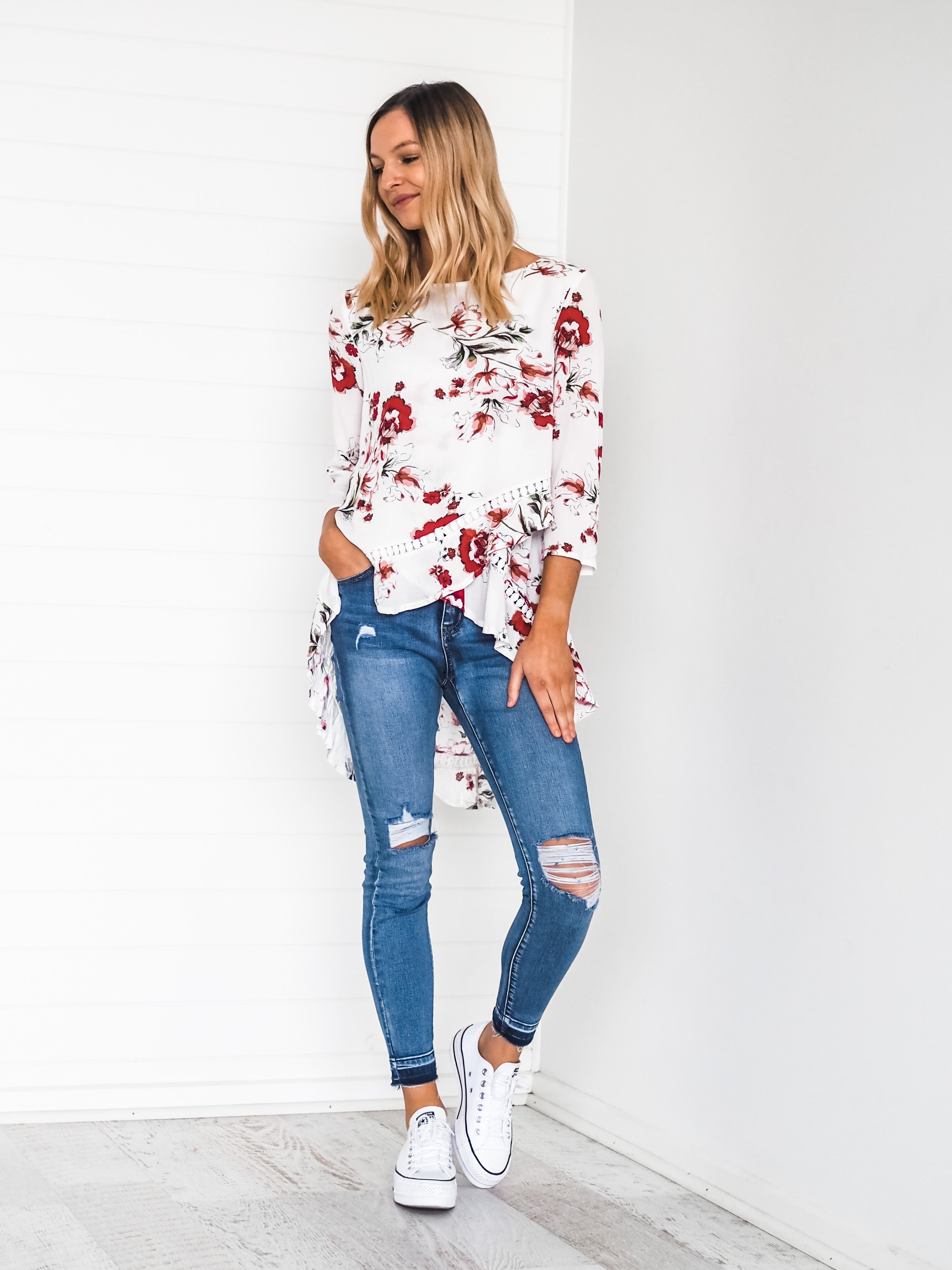 Lucia Blouse White Floral - Was $59.95