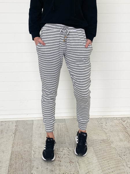 Mia Joggers - Grey and White stripes