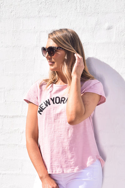 New York City Tee - Blush Sequins