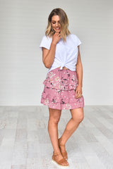 Zan Skirt - Dusty pink floral