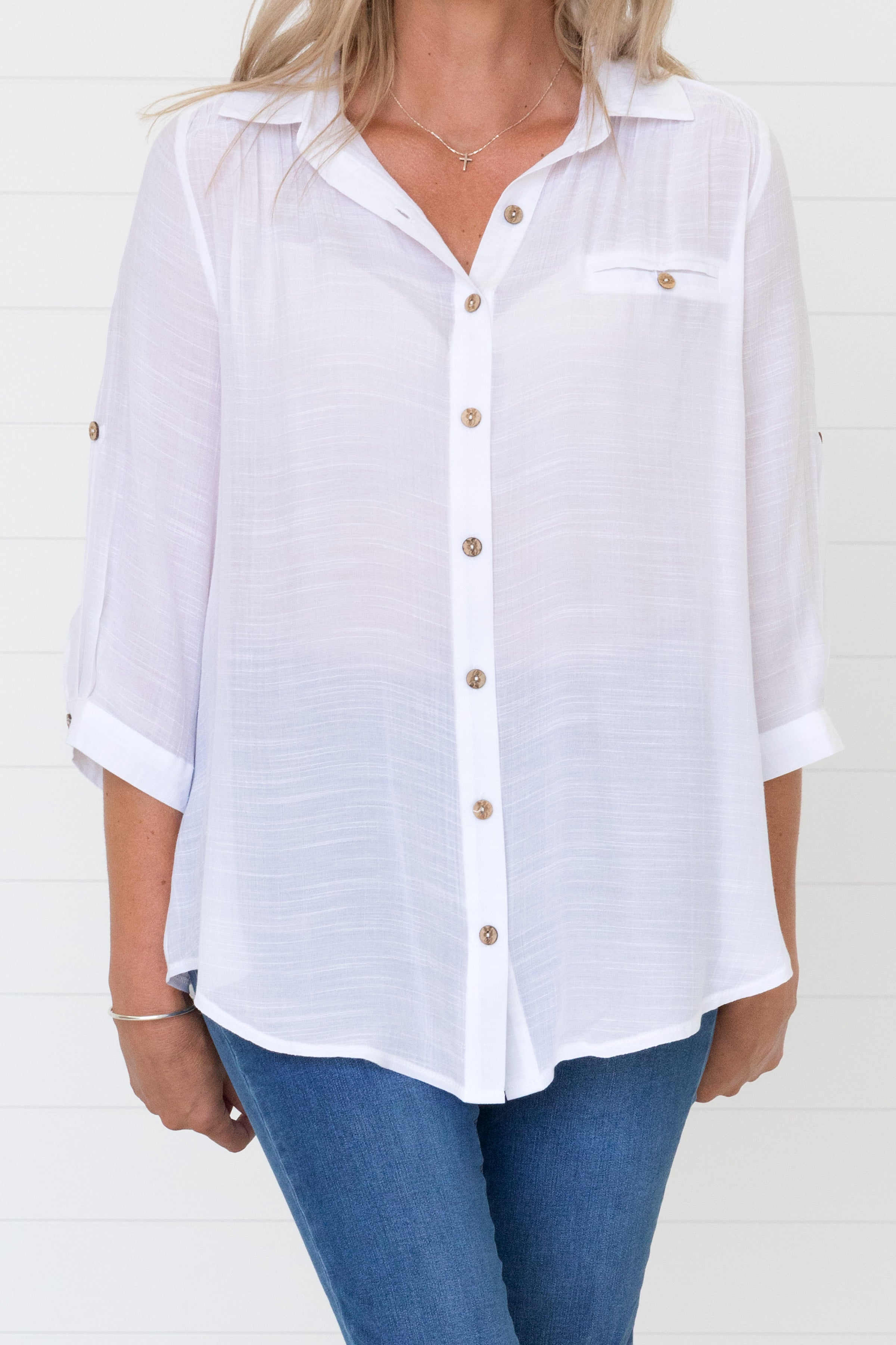 Molly Shirt White - Waa $45.00