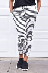 Mia Joggers - White and Black Stripes