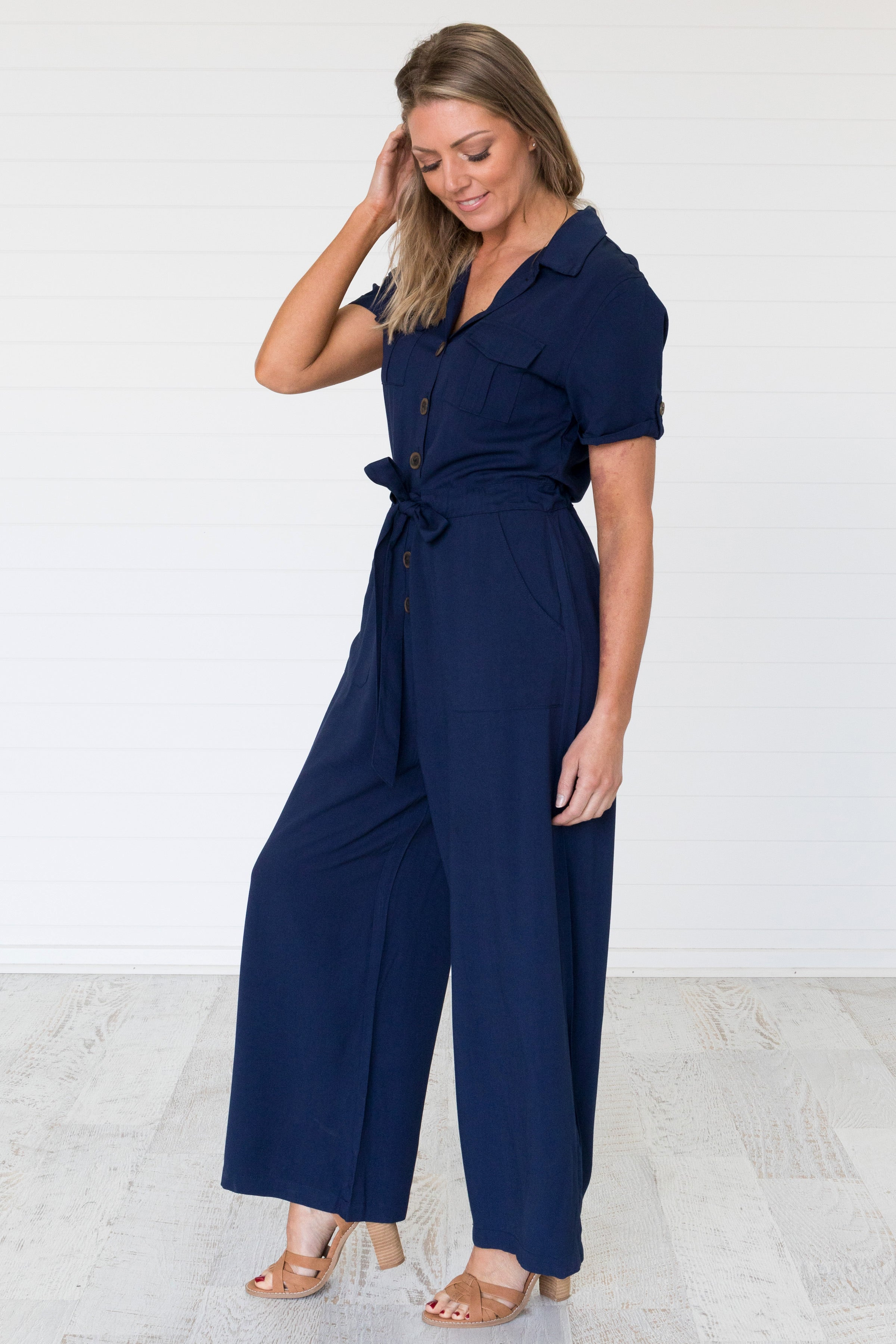 Nadia Jumpsuit Navy - Was $69.95