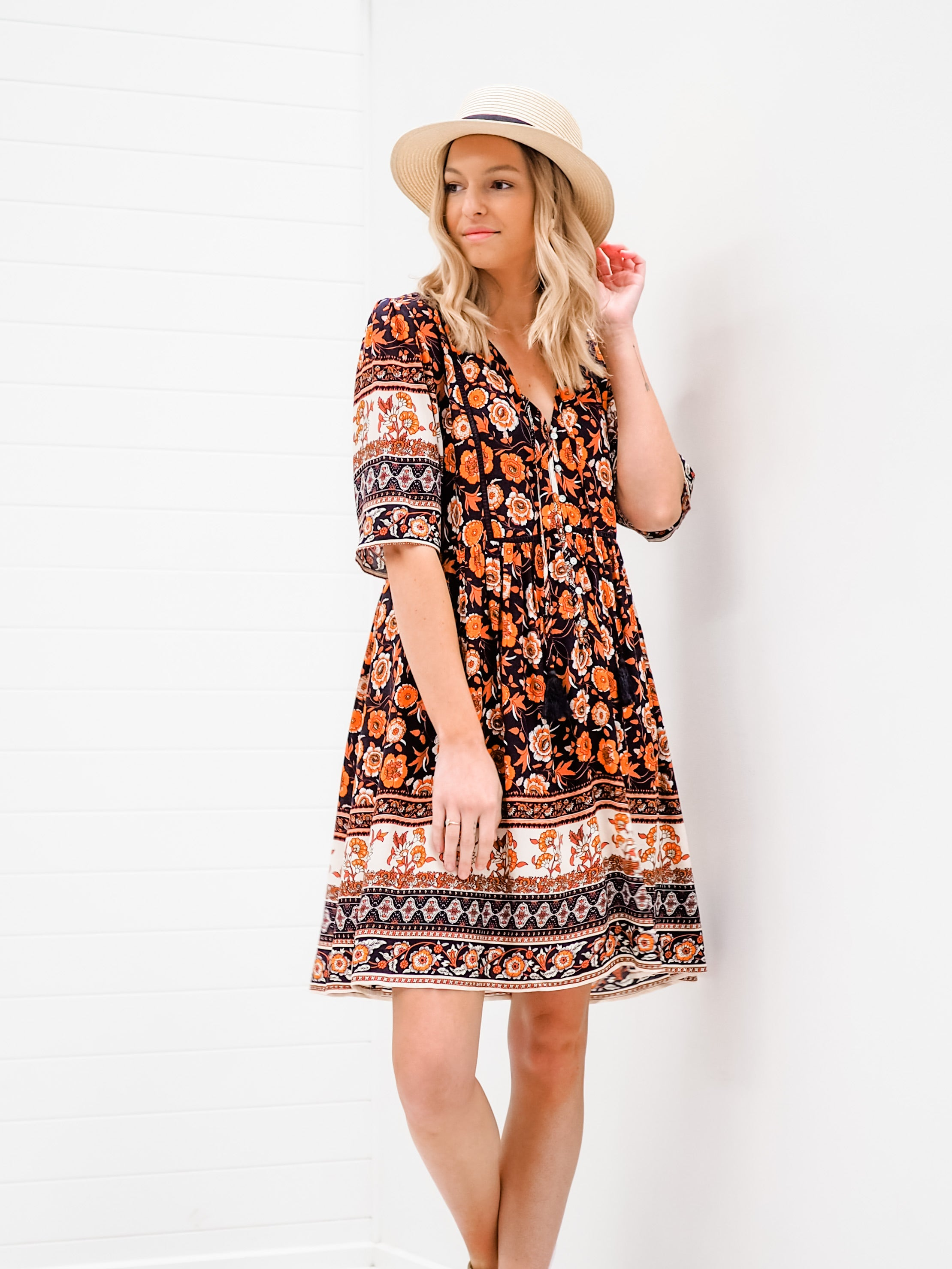 Paige Dress - Multi Navy