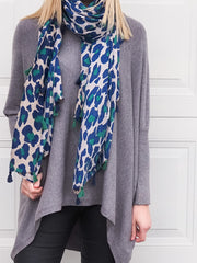 Lexi Scarf - Blue and Green Leopard