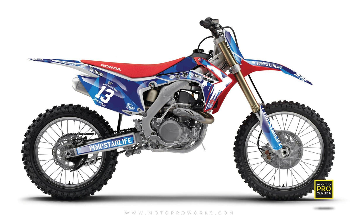 "Honda GRAPHIC KIT - ""M90"" (blue) - MotoProWorks 