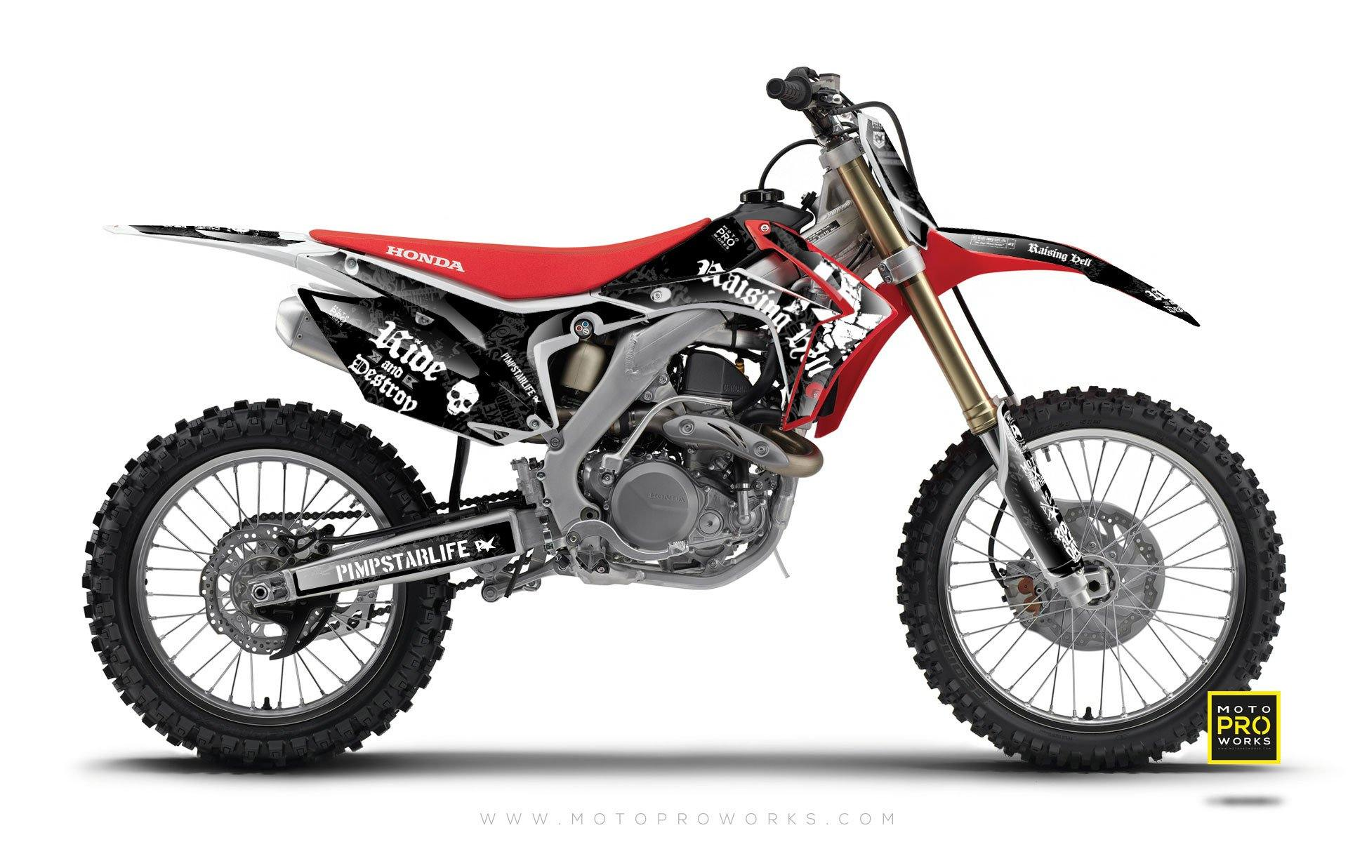 "Honda GRAPHIC KIT - ""RAISINGHELL"" (black) - MotoProWorks 