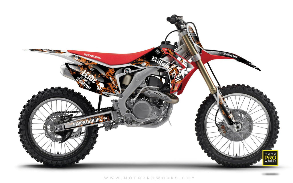 "Honda GRAPHIC KIT - ""RAISINGHELL"" (orange) - MotoProWorks 
