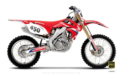 "Honda GRAPHIC KIT - ""REDRETRO"" (white) - MotoProWorks 