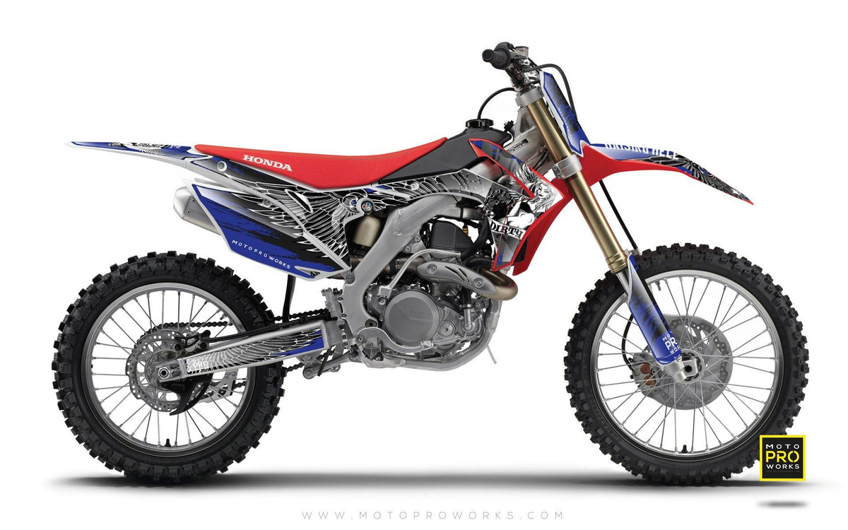 "Honda GRAPHIC KIT - ""DIRTY ANGEL"" (blue) - MotoProWorks 
