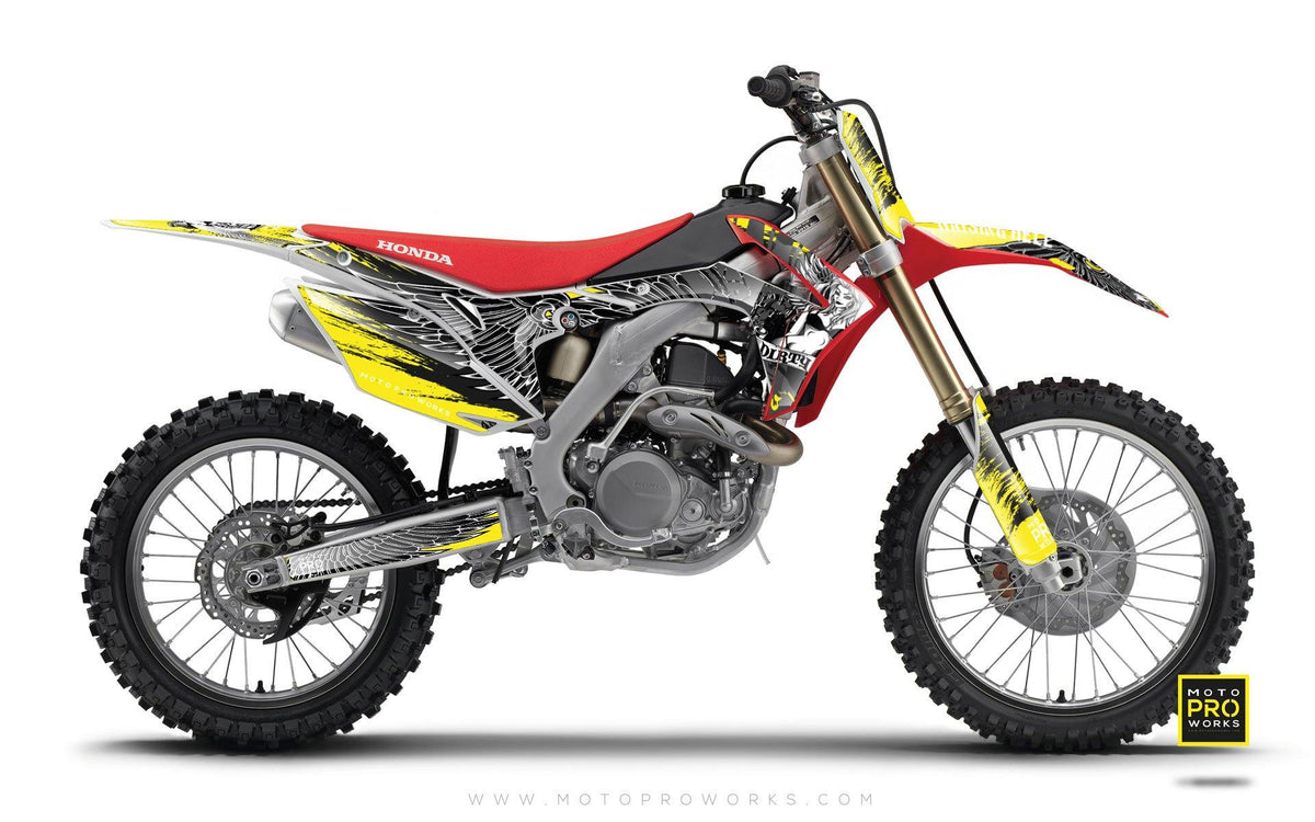 "Honda GRAPHIC KIT - ""DIRTY ANGEL"" (yellow) - MotoProWorks 