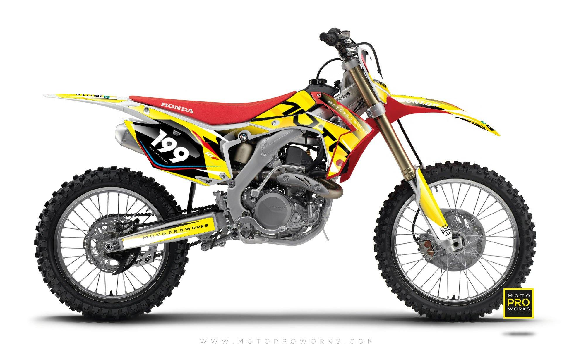 "Honda GRAPHIC KIT - ""TECH9"" (mustard) - MotoProWorks 