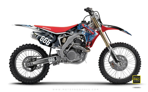 "Honda GRAPHIC KIT - ""TRIPLESKULL"" (blue) - MotoProWorks 