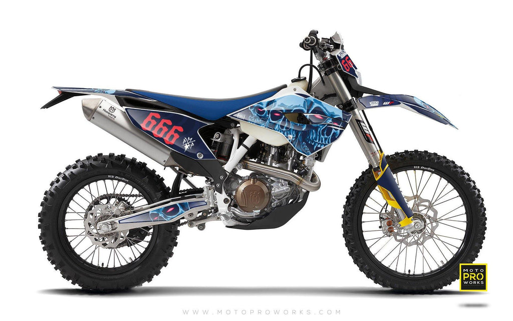 "Husqvarna GRAPHIC KIT - ""TRIPLESKULL"" (blue) - MotoProWorks 