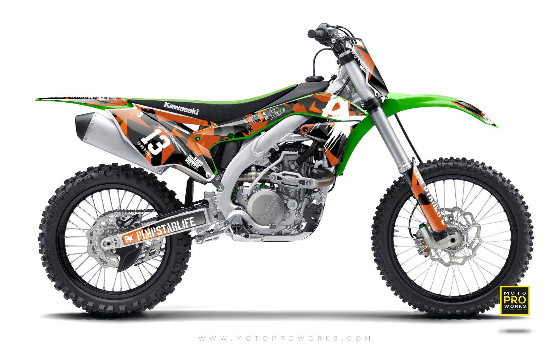 "Kawasaki GRAPHIC KIT - ""M90"" (orange) - MotoProWorks 