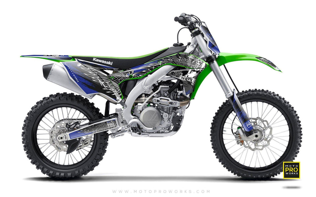 "Kawasaki GRAPHIC KIT - ""Dirty Angel"" (blue) - MotoProWorks 