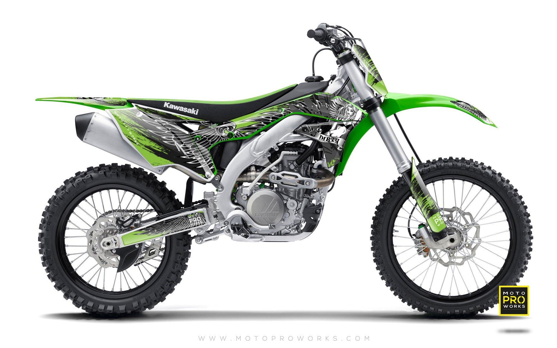 "Kawasaki GRAPHIC KIT - ""Dirty Angel"" (green) - MotoProWorks 