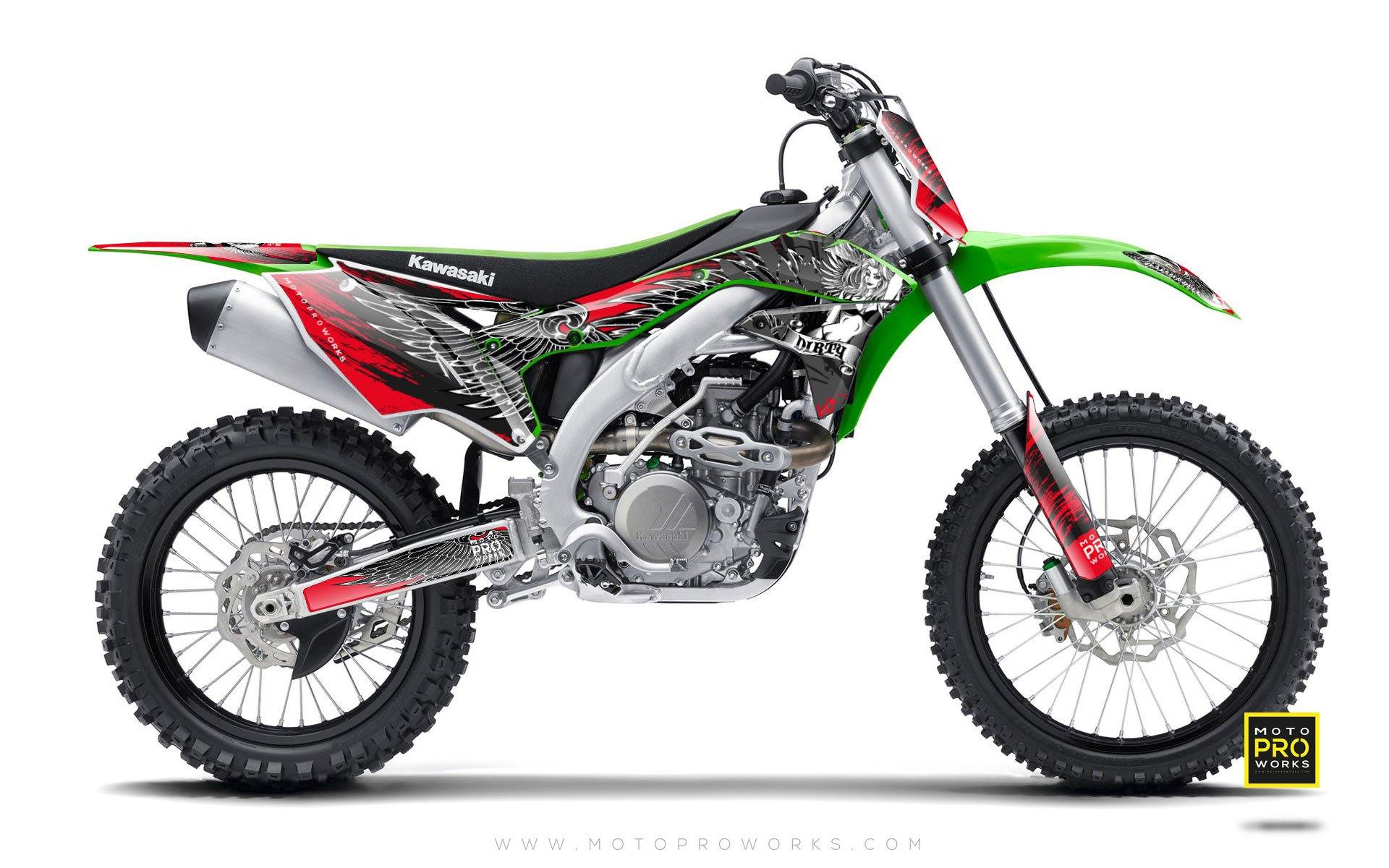 "Kawasaki GRAPHIC KIT - ""Dirty Angel"" (red) - MotoProWorks 