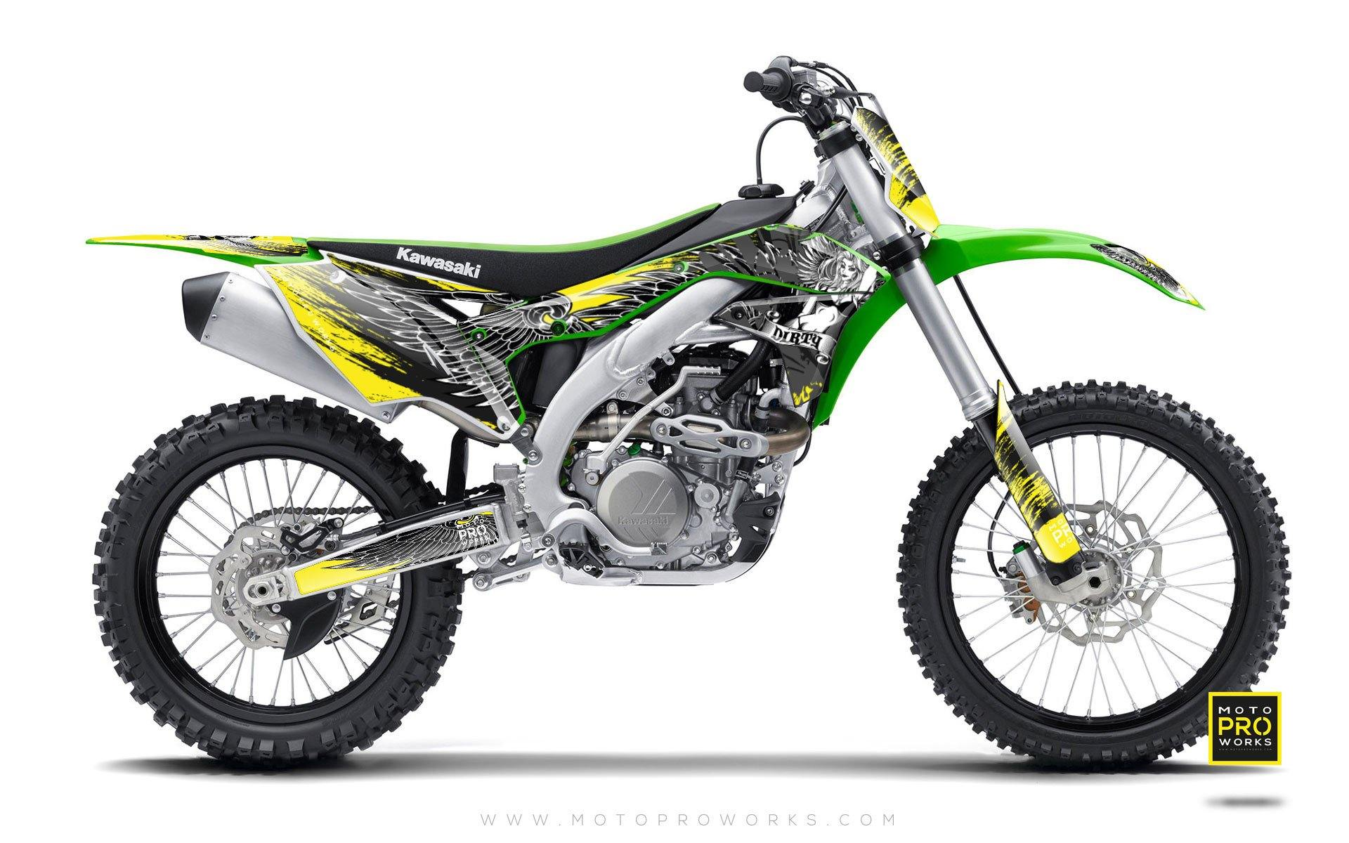 "Kawasaki GRAPHIC KIT - ""Dirty Angel"" (yellow) - MotoProWorks 
