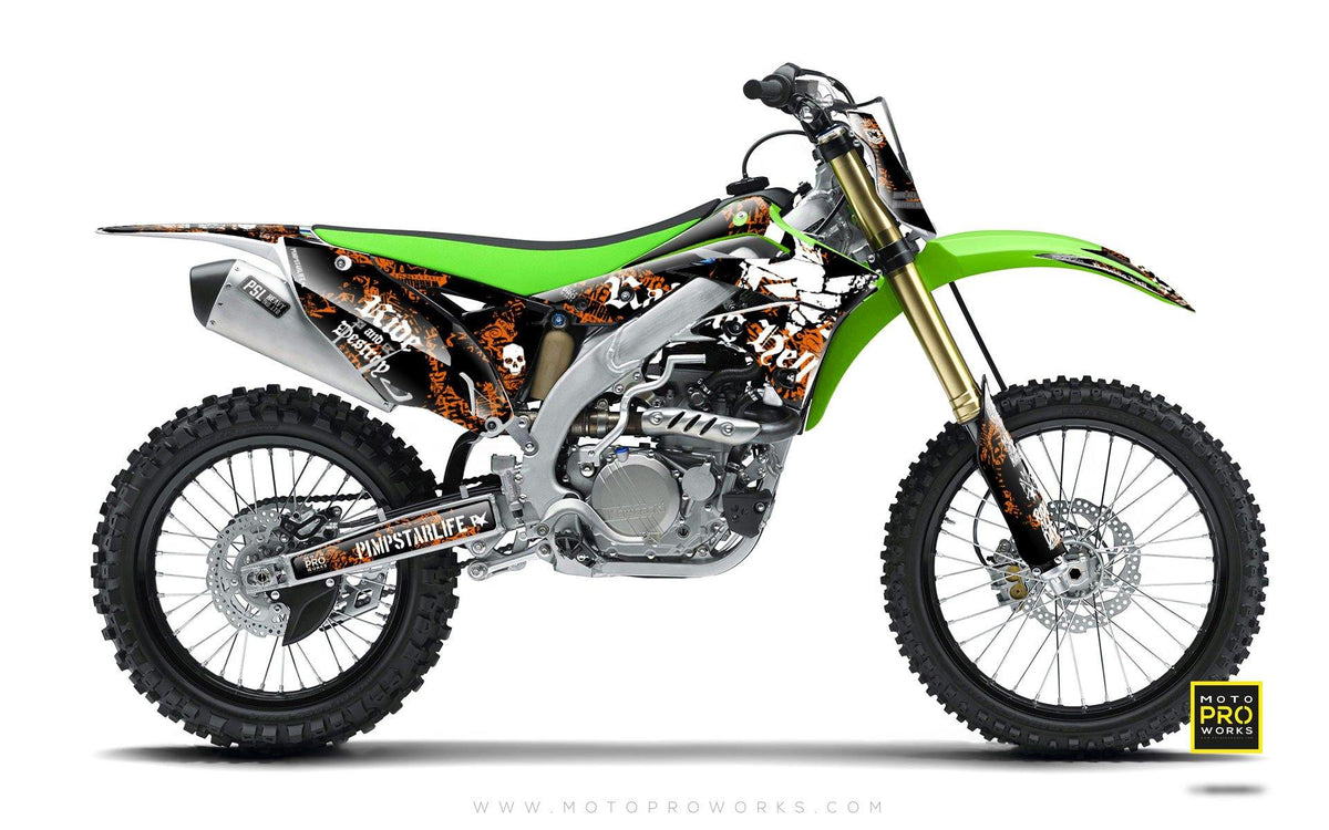 "Kawasaki GRAPHIC KIT - ""Raising Hell"" (orange) - MotoProWorks 