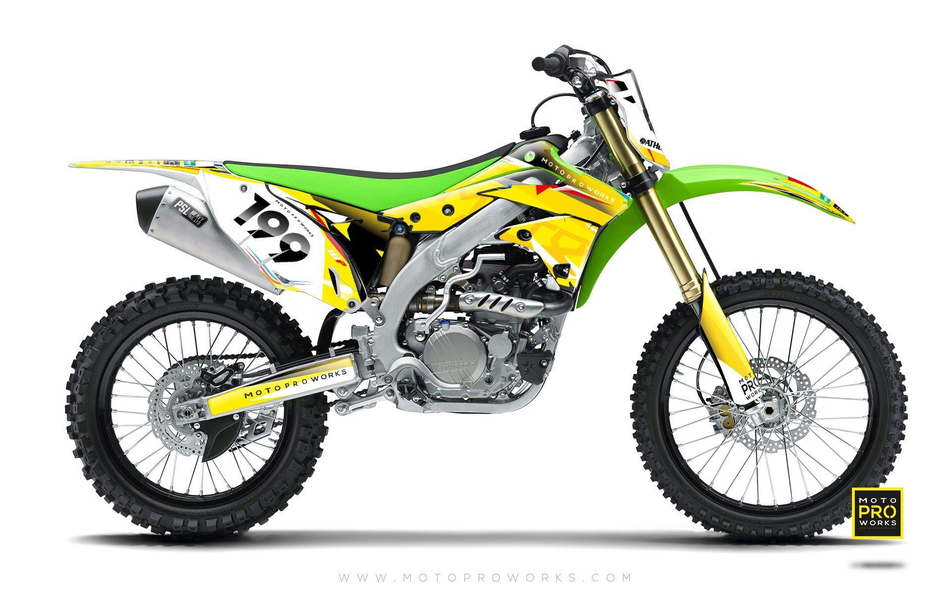 "Kawasaki GRAPHIC KIT - ""TECH9"" (mustard) - MotoProWorks 