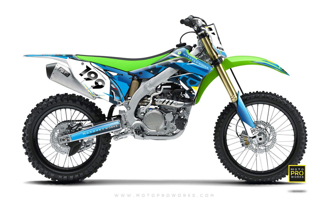 "Kawasaki GRAPHIC KIT - ""TECH9"" (pacific) - MotoProWorks 