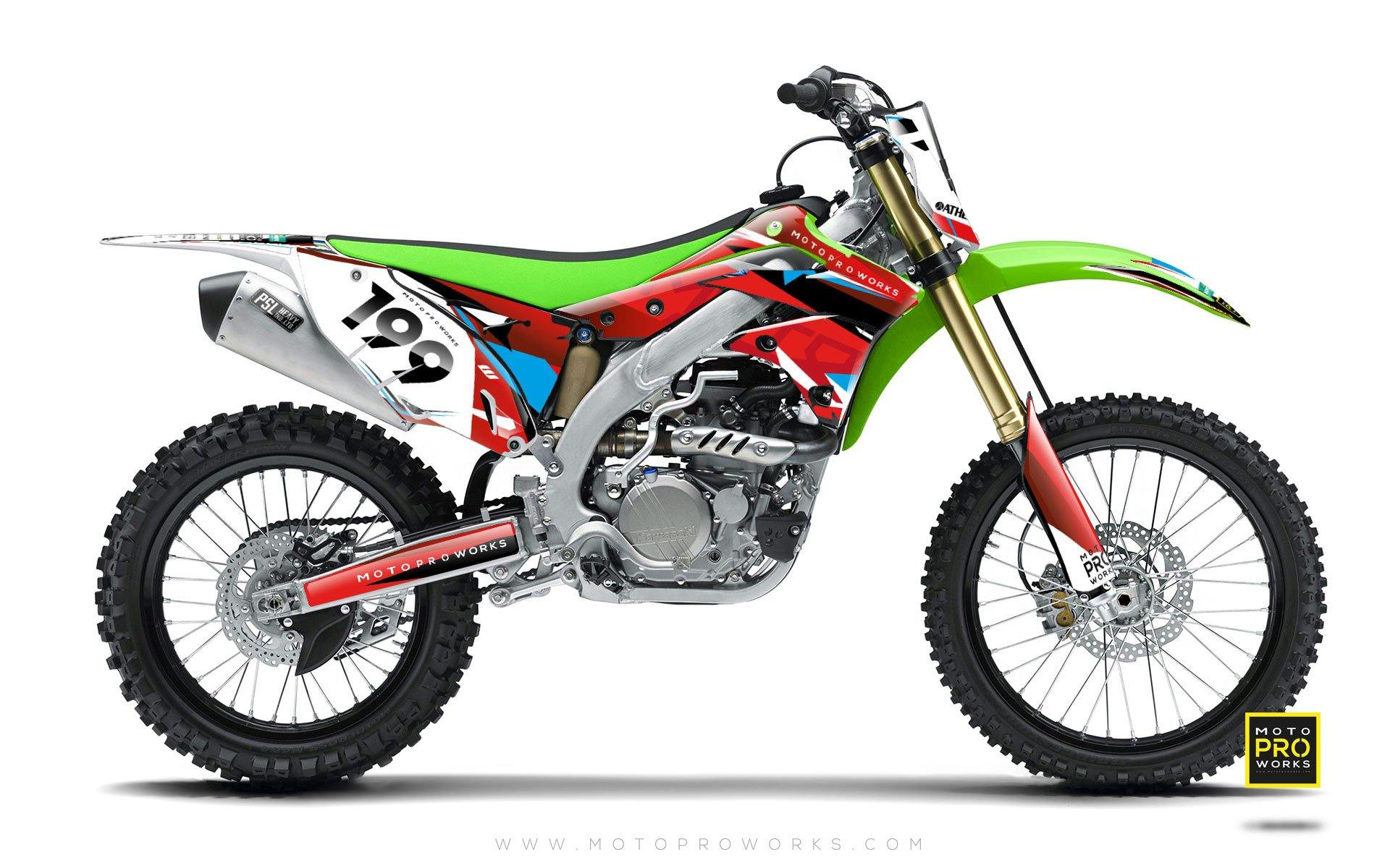 "Kawasaki GRAPHIC KIT - ""TECH9"" (polka) - MotoProWorks 
