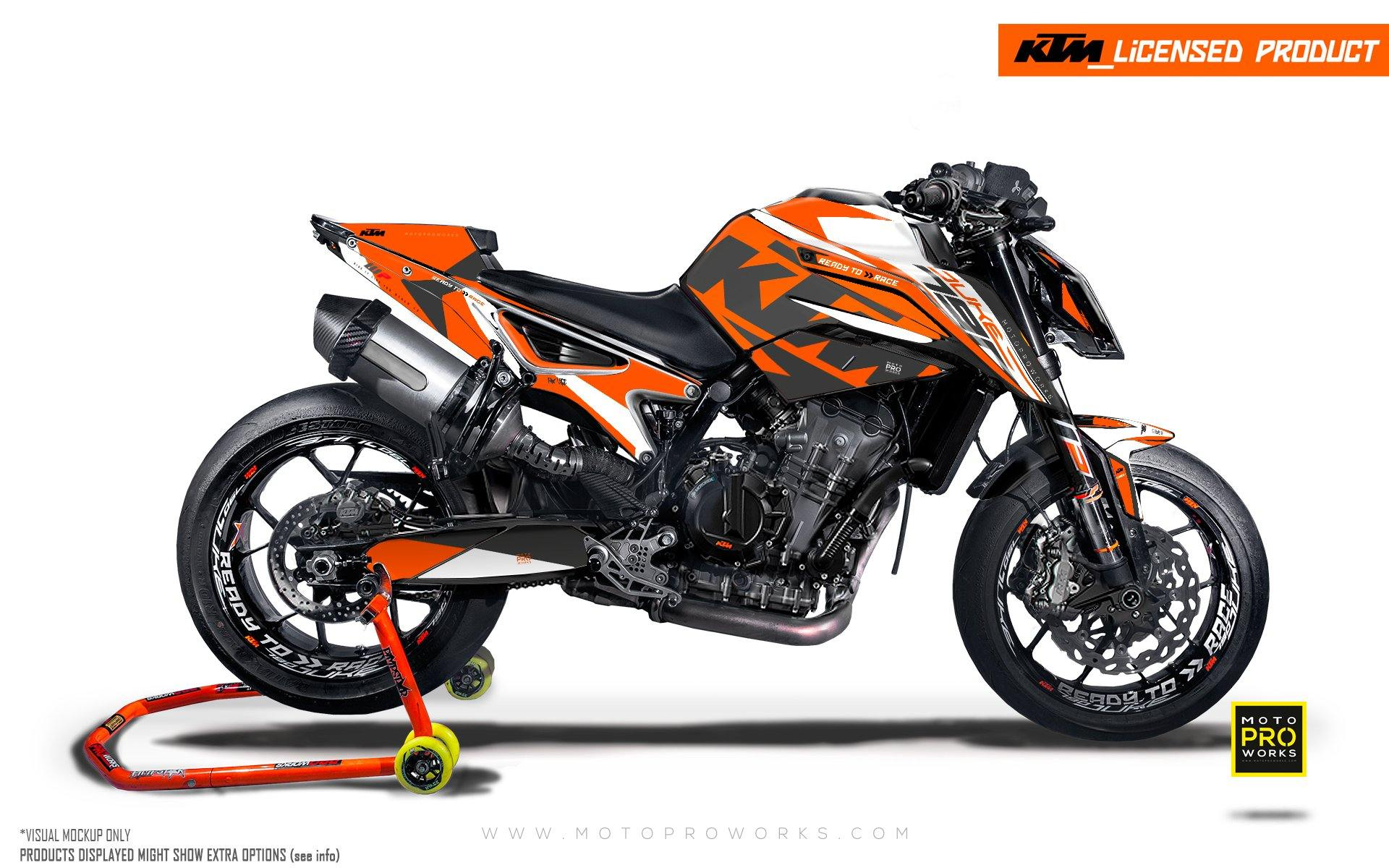 "KTM 790 Duke GRAPHIC KIT - ""Torque"" (Orange/White)"