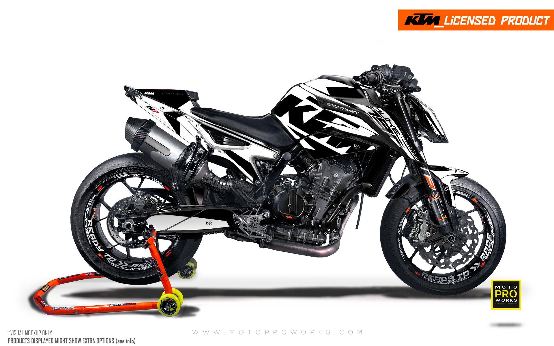"KTM 790 Duke GRAPHIC KIT - ""Torque"" (White/Black)"