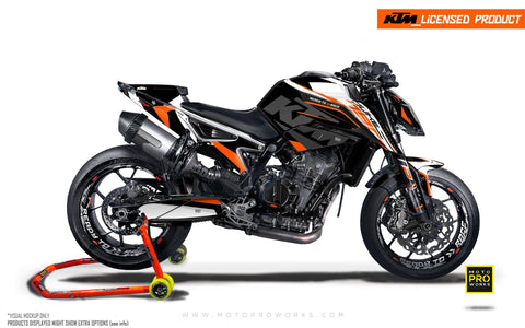 "KTM 790 Duke GRAPHIC KIT - ""Torque"" (White/Black/Orange)"