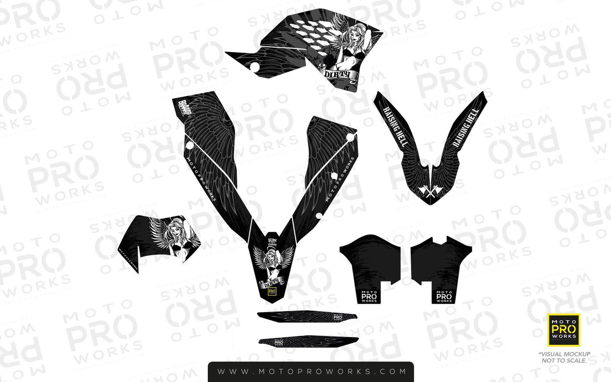 "KTM GRAPHIC KIT - ""Dirty Angel"" (black) - MotoProWorks 