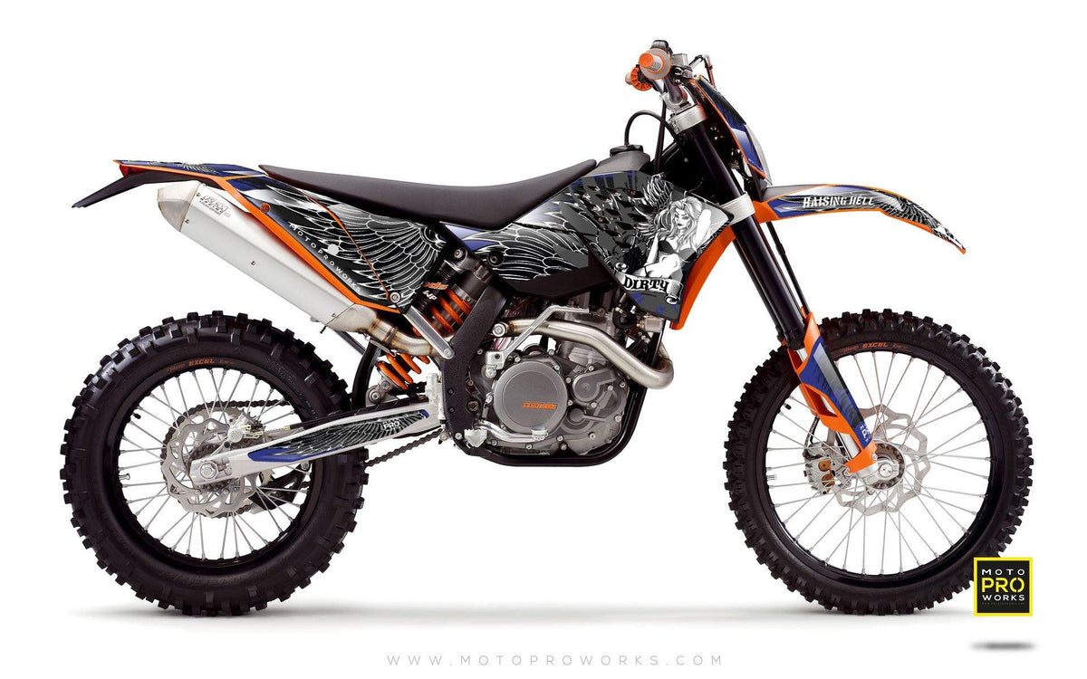 "KTM GRAPHIC KIT - ""Dirty Angel"" (blue) - MotoProWorks 