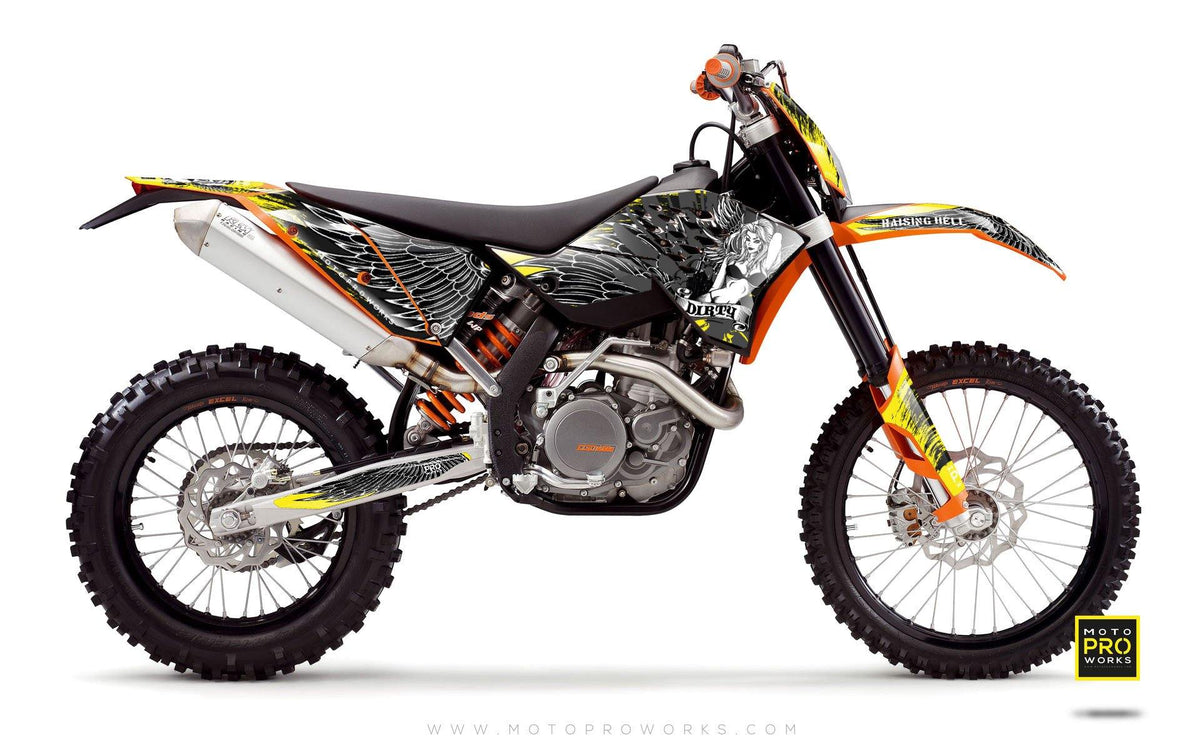 "KTM GRAPHIC KIT - ""Dirty Angel"" (yellow) - MotoProWorks 