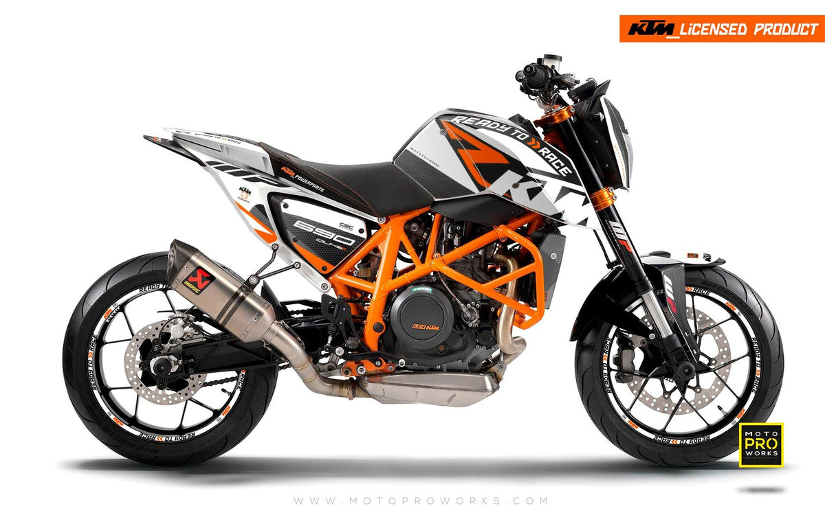"KTM 690 Duke GRAPHIC KIT - ""RR-Tech"" (White)"