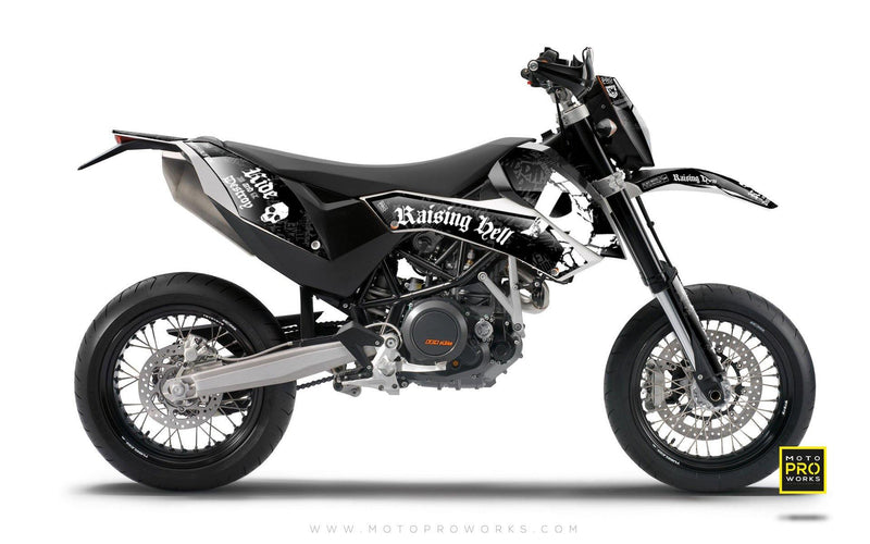 "KTM GRAPHIC KIT - ""Raising Hell"" (black) - MotoProWorks 