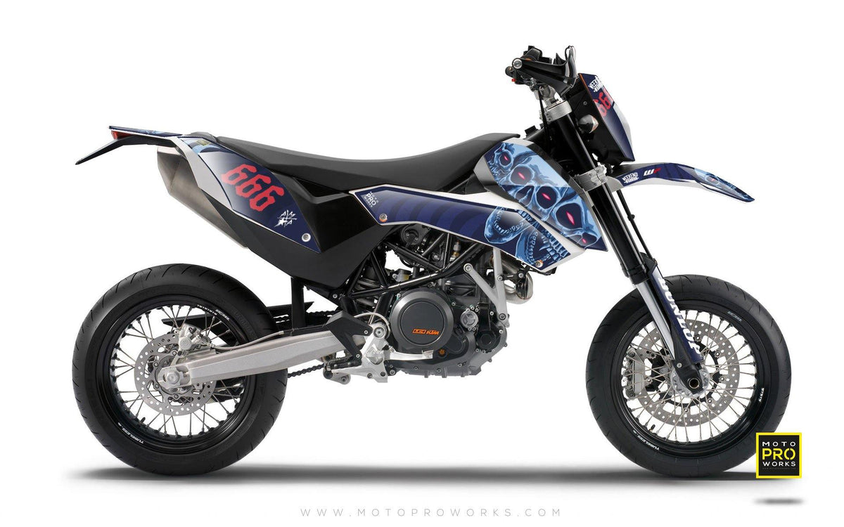 "KTM GRAPHIC KIT - ""TRIPLESKULL"" (blue) - MotoProWorks 